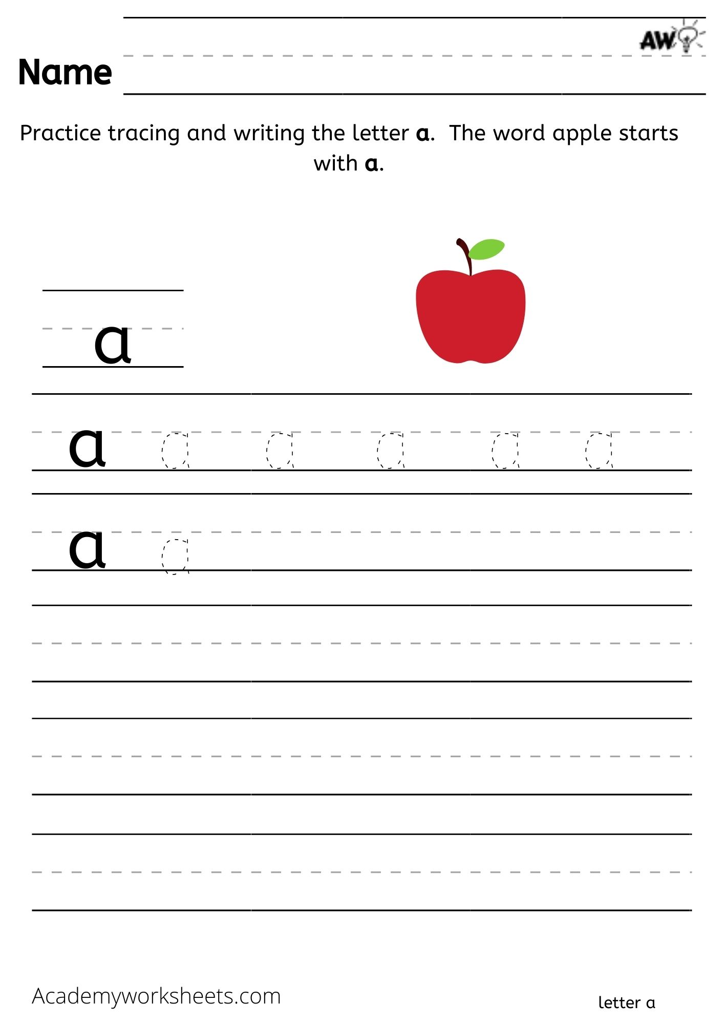 write trace the letter a