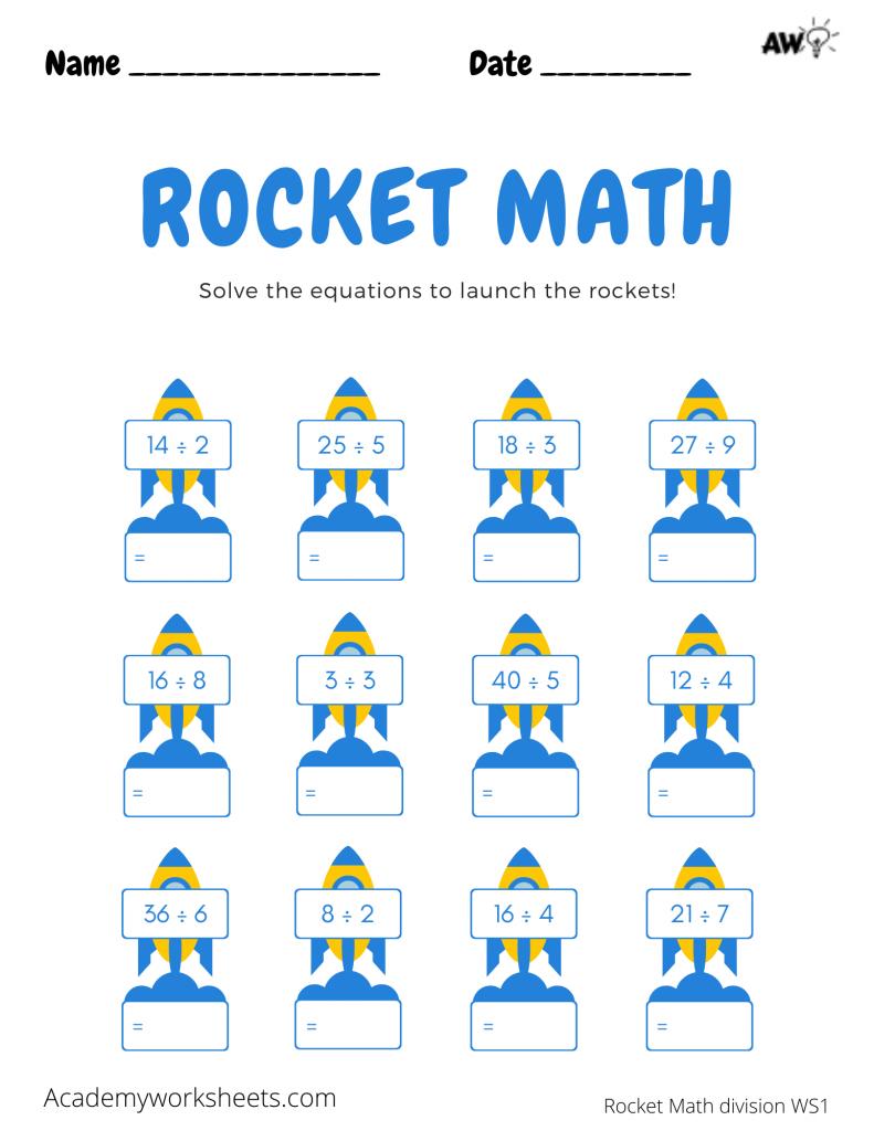 'rocket math division worksheet'