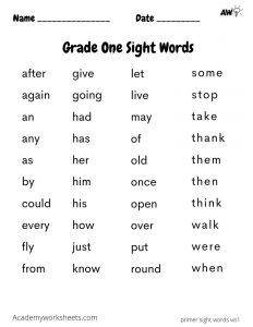 1st grade grade one sight words