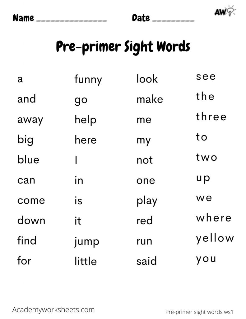 pre primer sight words dolche